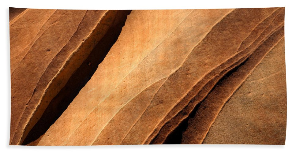Sandstone Hand Towel featuring the photograph Desert Lines by Mike Dawson