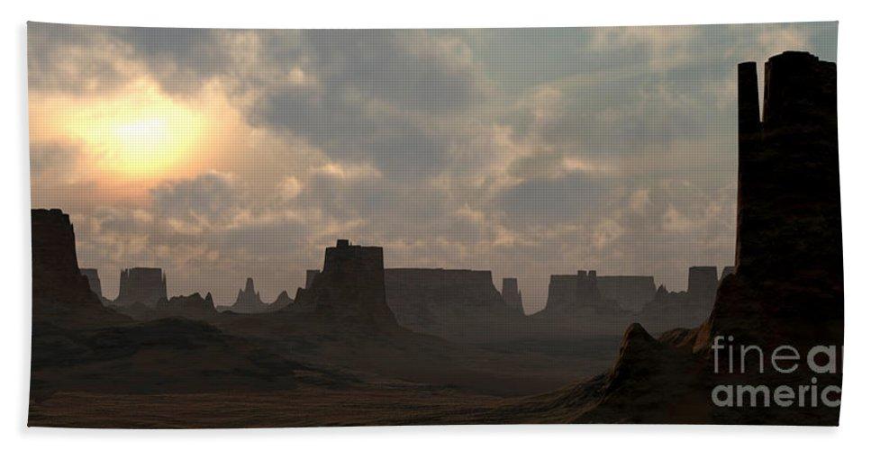 Desert Bath Sheet featuring the digital art Desert Morning by Richard Rizzo