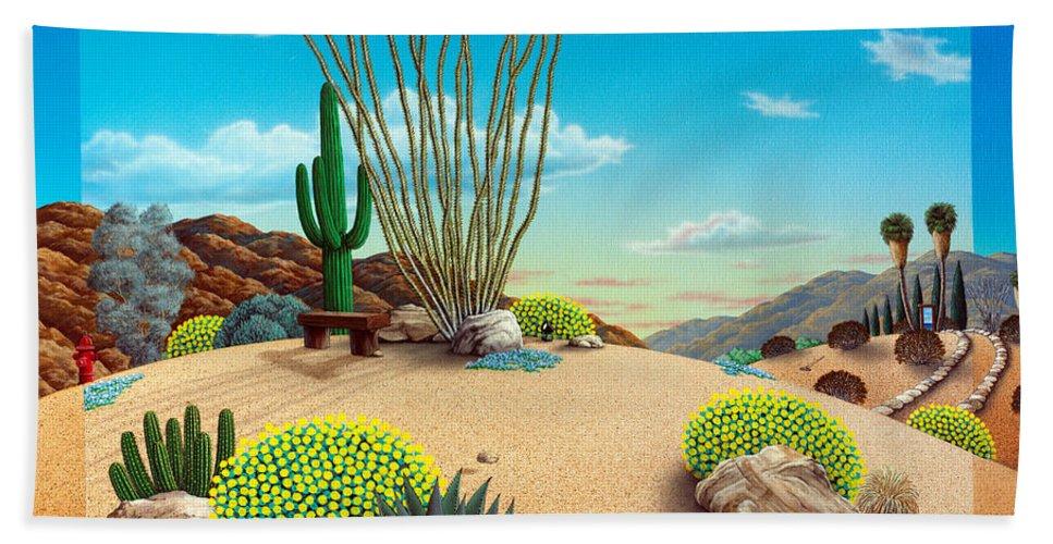 Desert Bath Sheet featuring the painting Desert Quail by Snake Jagger