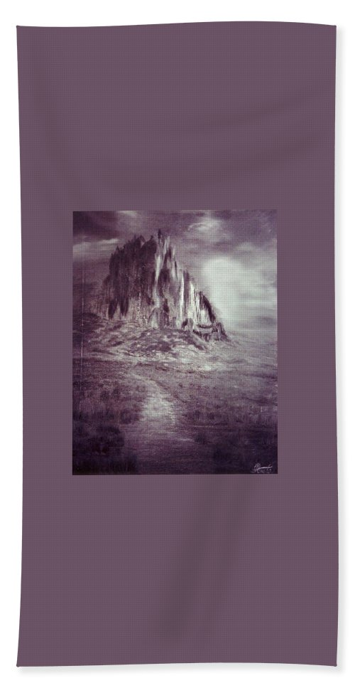 Black And White Desert Hand Towel featuring the painting Desert by Renata Bosnjak