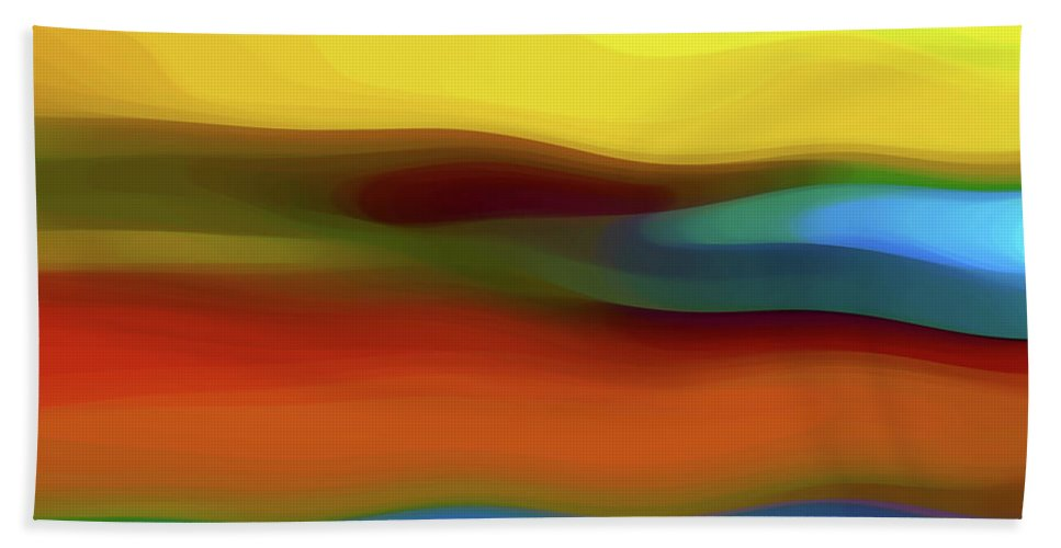 Abstract Bath Towel featuring the digital art Desert River Landscape by Amy Vangsgard