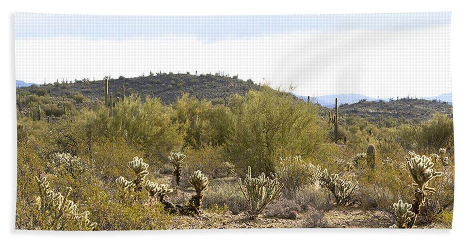 Landscape Bath Sheet featuring the photograph Desert Sunrise by Phyllis Denton
