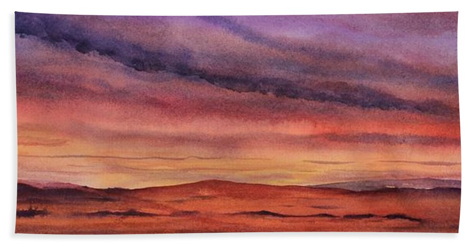 Desert Hand Towel featuring the painting Desert Sunset by Ruth Kamenev