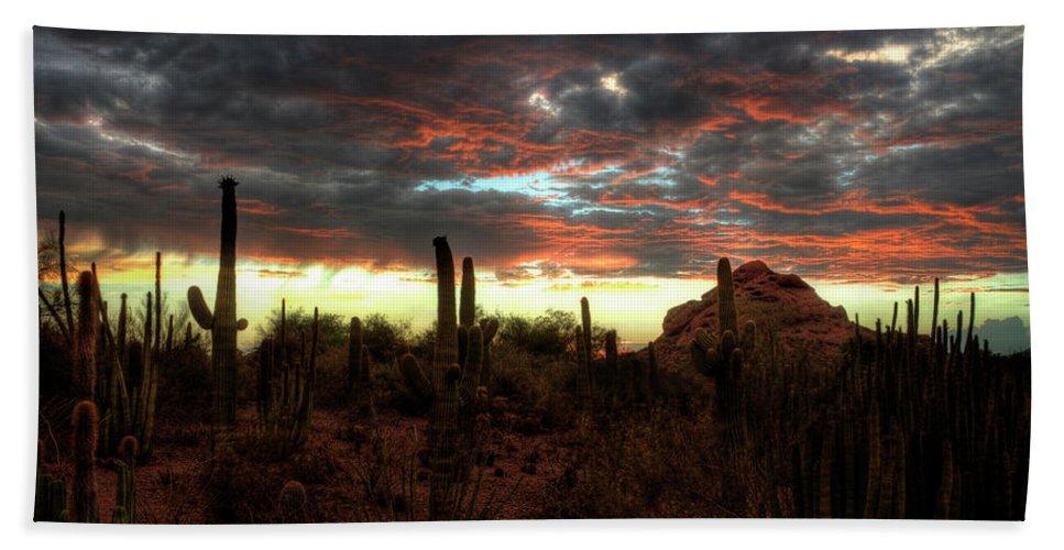 Sunset Bath Sheet featuring the photograph Desert Sunset by Saija Lehtonen