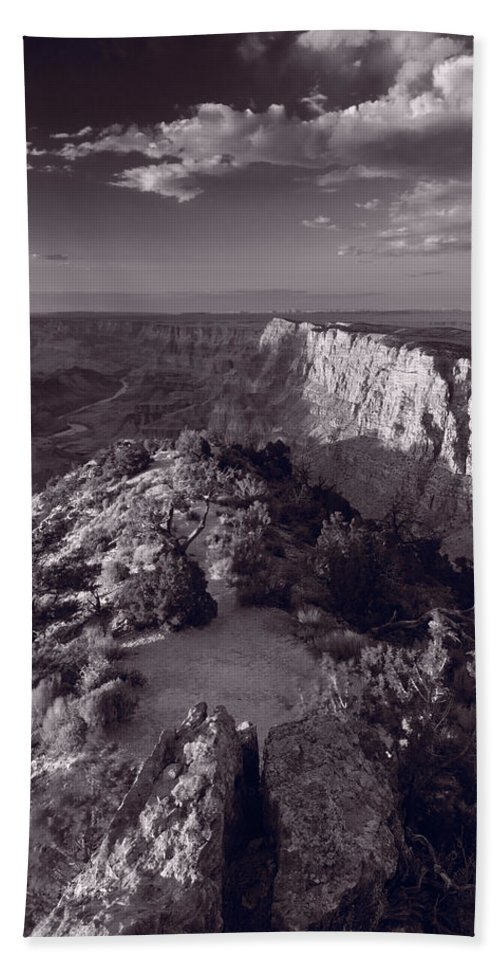 Arizona Hand Towel featuring the photograph Desert View At Grand Canyon Arizona Bw by Steve Gadomski