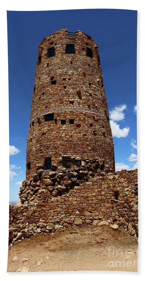 Cape Final Bath Sheet featuring the photograph Desert View Watchtower At Grand Canyon by Christiane Schulze Art And Photography