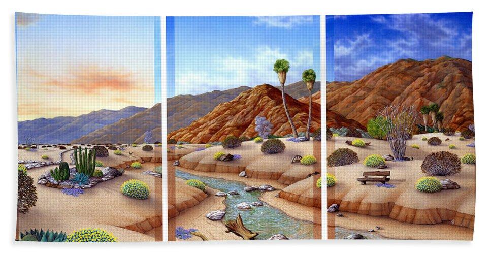 Landscape Bath Sheet featuring the painting Desert Vista by Snake Jagger