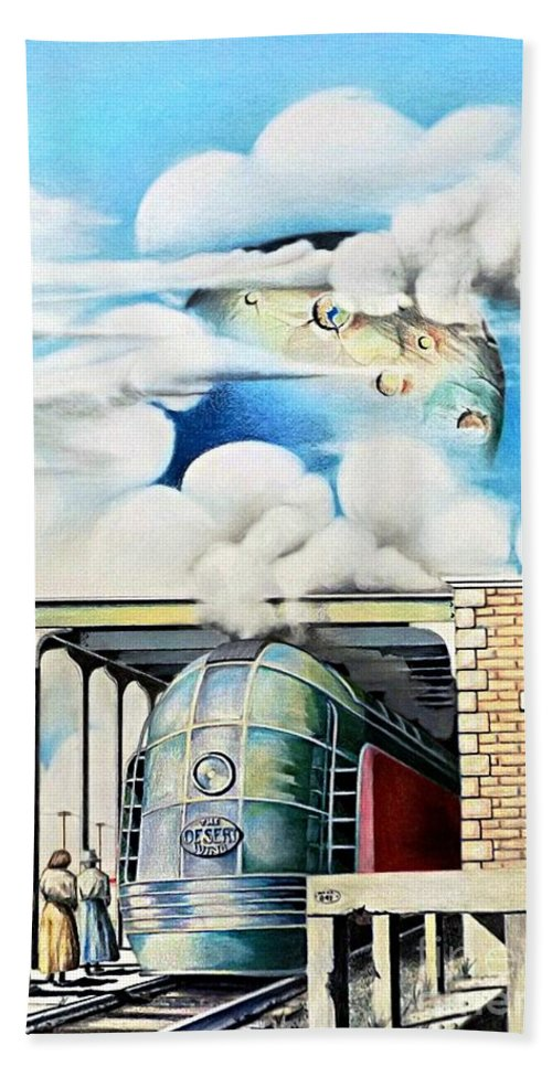 Train Drawing Hand Towel featuring the drawing Desert Wind by David Neace