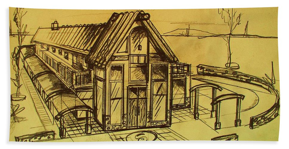 Architectural Hand Towel featuring the drawing Design Sketch by Eric Schiabor