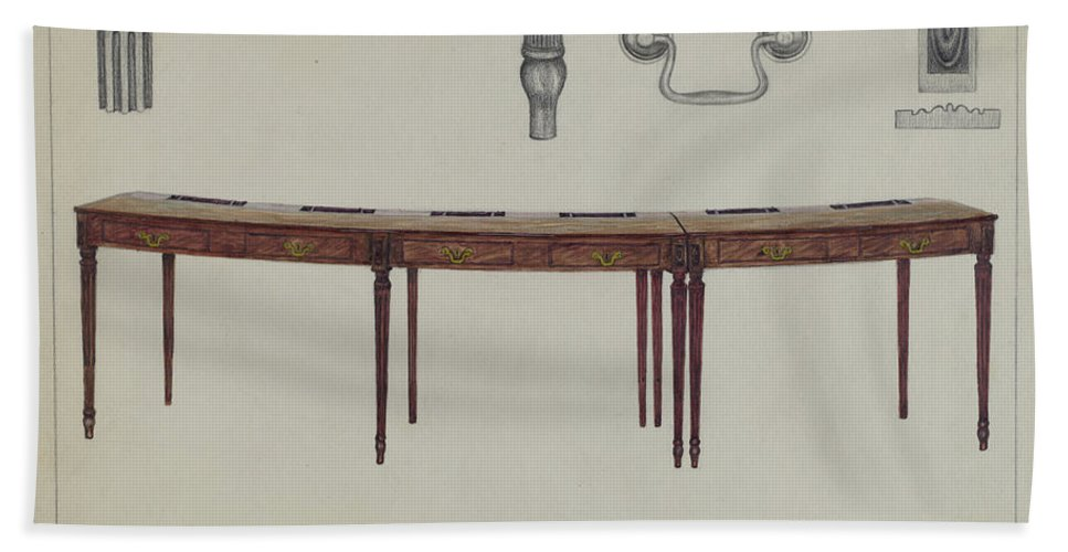 Hand Towel featuring the drawing Desk (in Two Sections) Used By Members Of Congress by Rollington Campbell