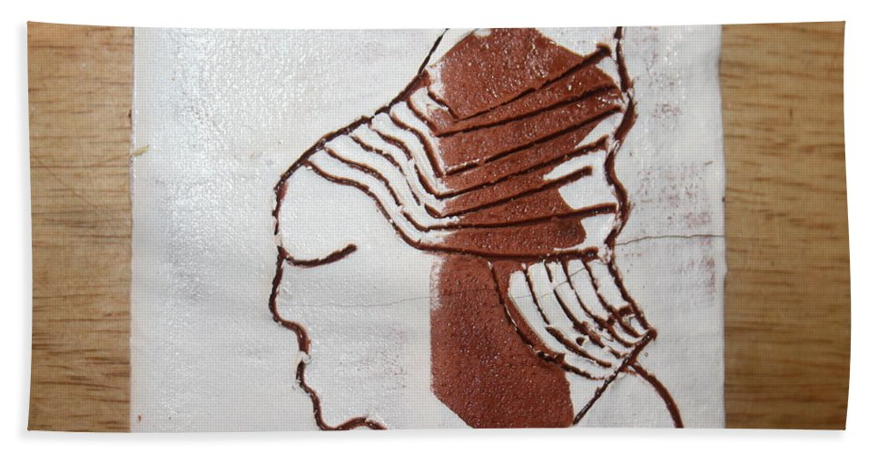 Jesus Hand Towel featuring the ceramic art Desmond - Tile by Gloria Ssali