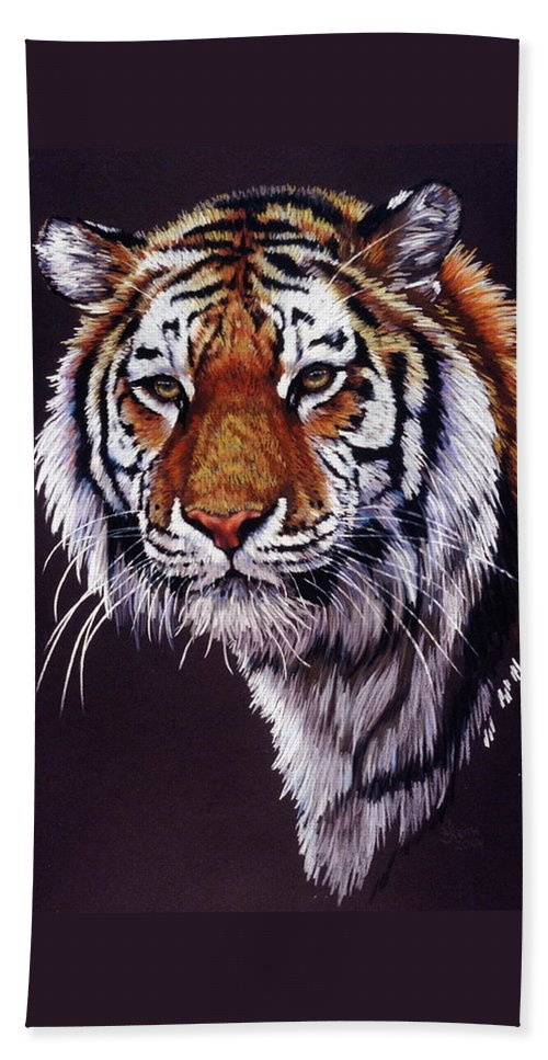 Tiger Bath Sheet featuring the drawing Desperado by Barbara Keith