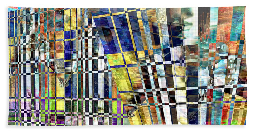 Abstract Bath Sheet featuring the digital art Desperate Reflections by Seth Weaver