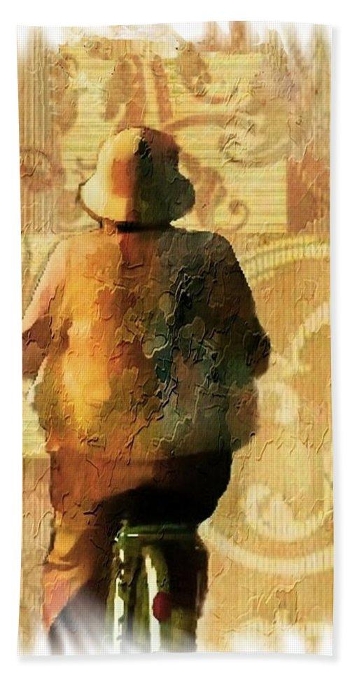 Elder Lady Hand Towel featuring the digital art Destination by Ellen Cannon