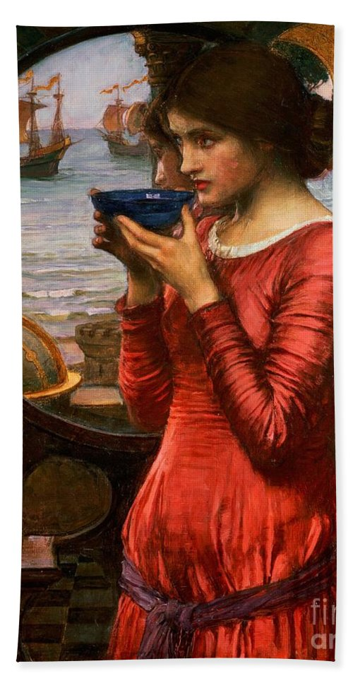 Boat; Globe; Poison; Blue Glass; Pre-raphaelite; Allegorical; Red Dress Bath Towel featuring the painting Destiny by John William Waterhouse
