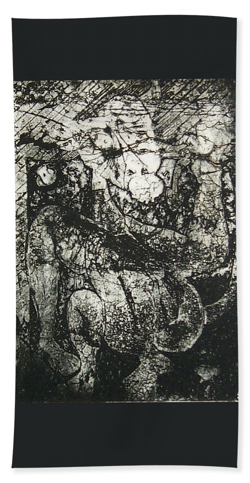 Etching Bath Towel featuring the print Destroy Plate by Thomas Valentine