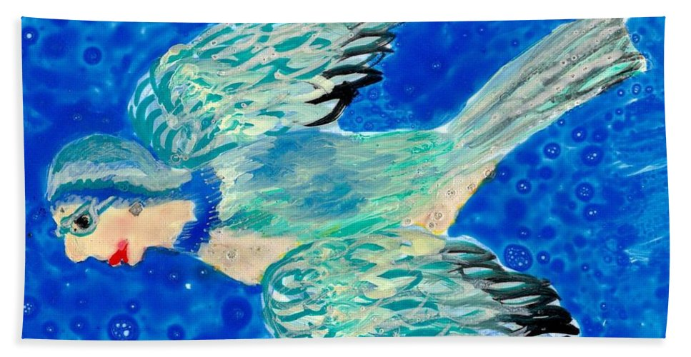 Bird People Hand Towel featuring the painting Detail Of Bird People Flying Bluetit Or Chickadee by Sushila Burgess
