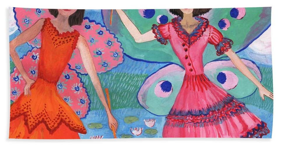 Sue Burgess Bath Sheet featuring the painting Detail Of Lily Pond Fairies by Sushila Burgess