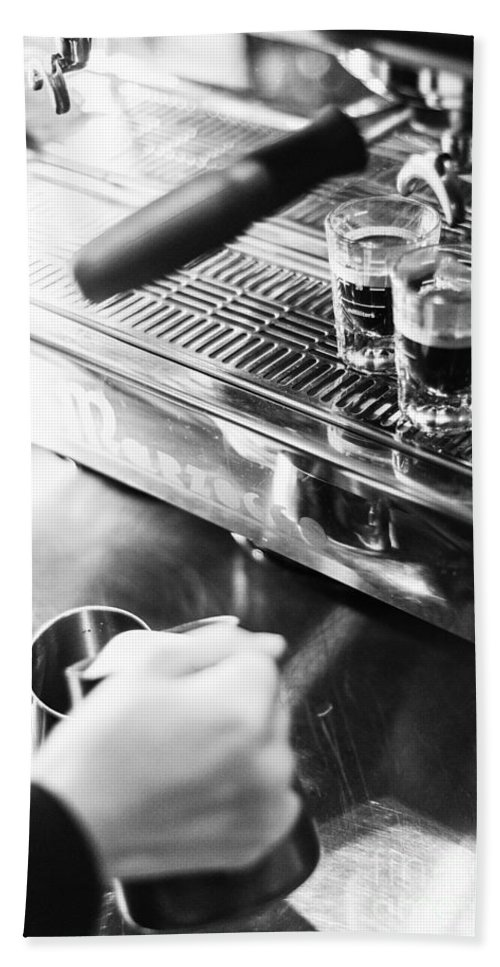 Artistic Bath Sheet featuring the photograph Detail Of Making Espresso Coffee With Machine Bw by Jacek Malipan