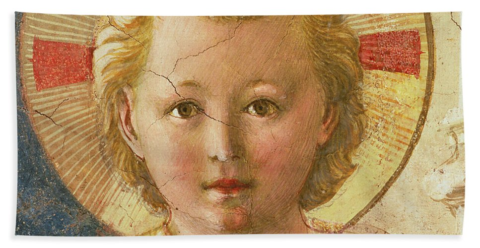 Fra Angelico Hand Towel featuring the painting Detail Of The Christ Child From The Madonna Delle Ombre by Fra Angelico