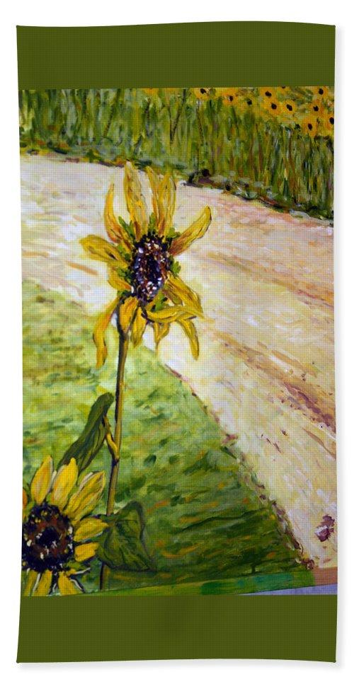 Landscape Hand Towel featuring the painting Detail Slunecnic3 by Pablo de Choros