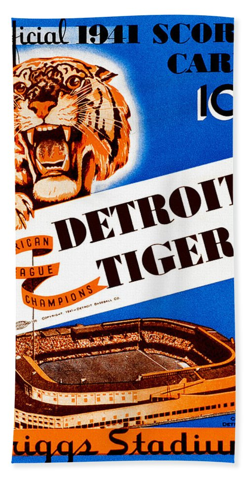 Baseball Bath Sheet featuring the painting Detroit Tigers 1941 Scorecard by John Farr