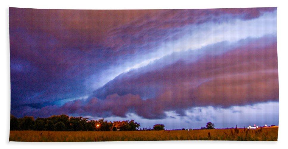 Nebraskasc Bath Sheet featuring the photograph Developing Nebraska Night Shelf Cloud 006 by NebraskaSC