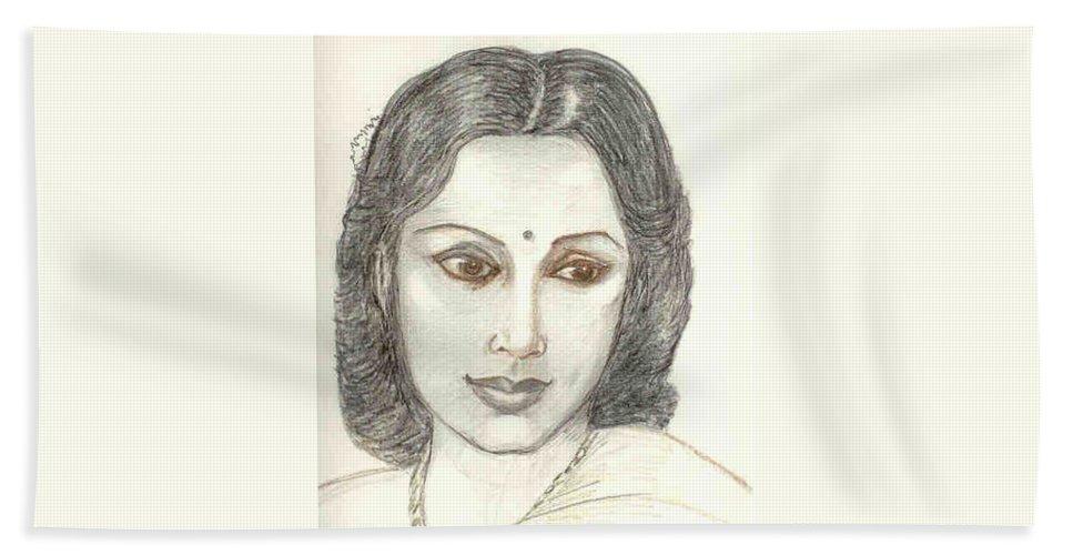 Bath Towel featuring the drawing Devika Rani - Svetoslav Roerich by Asha Sudhaker Shenoy
