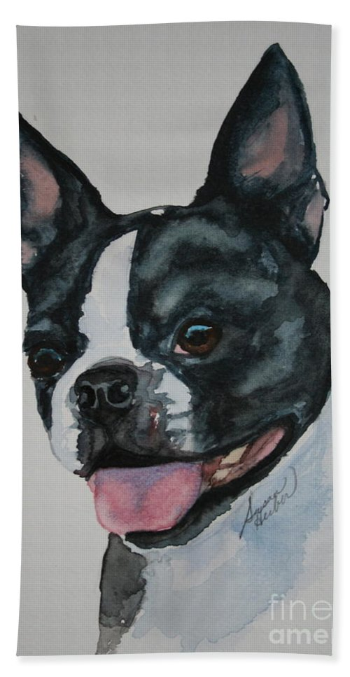 Boston Terrier Bath Sheet featuring the painting Devil Ears by Susan Herber