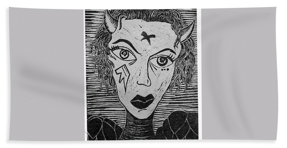 Prints Bath Towel featuring the print Devil Print Two Out Of Five by Thomas Valentine