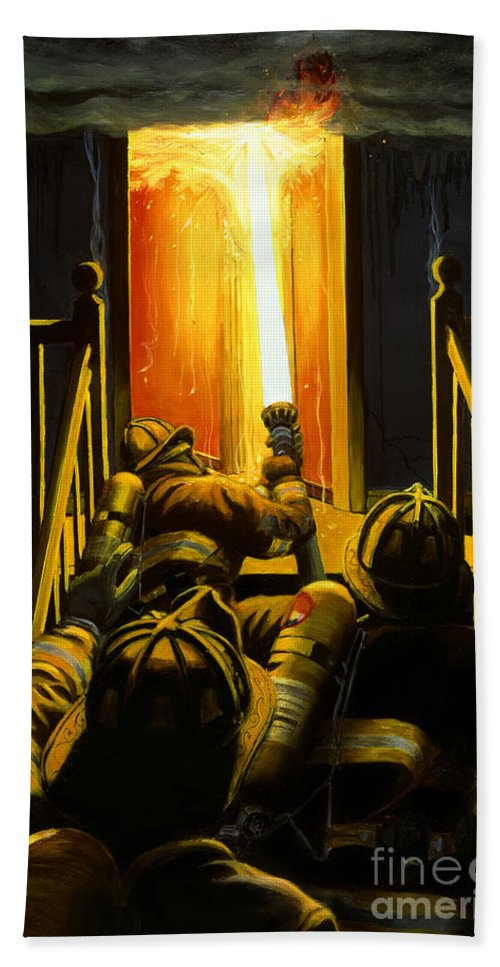 Firefighting Hand Towel featuring the painting Devil's Stairway by Paul Walsh