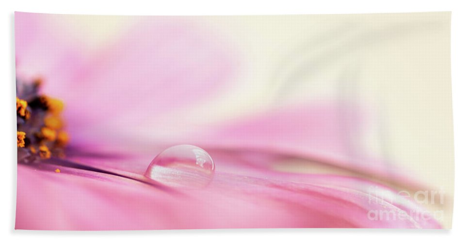 Daisy Bath Towel featuring the photograph Dew On A Daisy by Delphimages Photo Creations