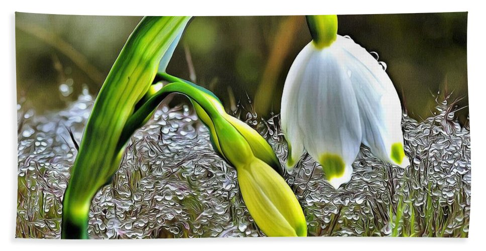 Lilly Hand Towel featuring the digital art Dew On Lilly Of The Valley by Louise Lavallee