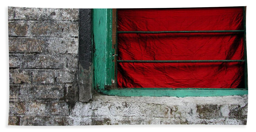 Red Bath Sheet featuring the photograph Dharamsala Window by Skip Hunt