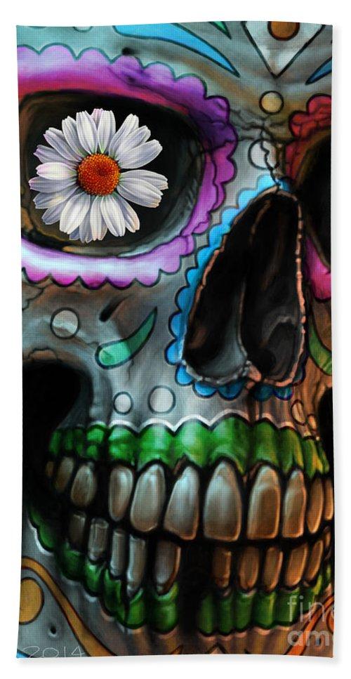 Sugar Skull Hand Towel featuring the digital art Dia De Los Muertos by Andre Koekemoer