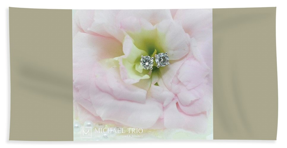Diamond Ear Rings Bath Sheet featuring the photograph Diamond Earrings by Michael Trio