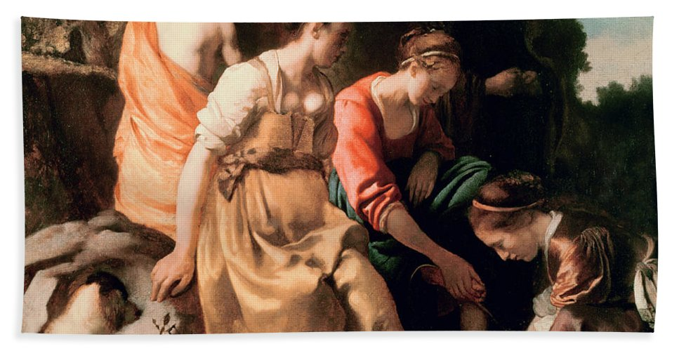 Diana And Her Companions Bath Sheet featuring the painting Diana And Her Companions by Jan Vermeer