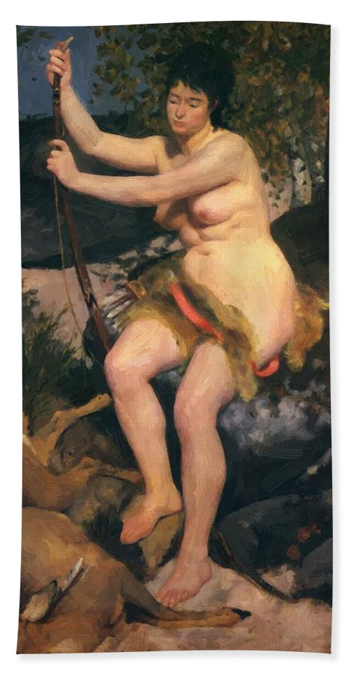 Diana Hand Towel featuring the painting Diana by Renoir PierreAuguste