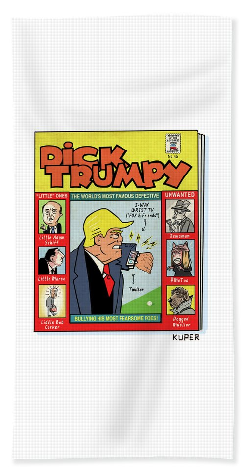 The Misadventures Of Dick Trumpy Bath Sheet featuring the drawing Dick Trumpy by Peter Kuper