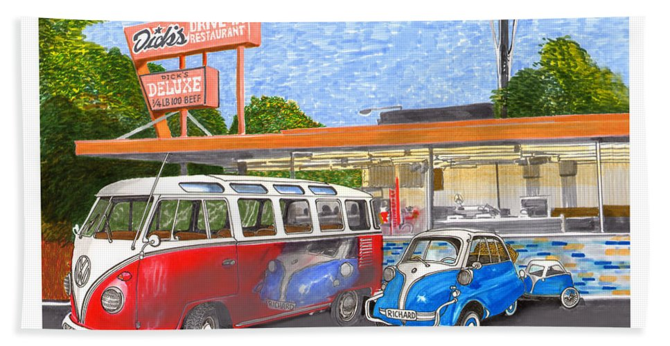 Framed Prints Of Dick's Drive-in Best Hamburgers In Seattle Bath Towel featuring the painting Dicks Drive In Seattle by Jack Pumphrey