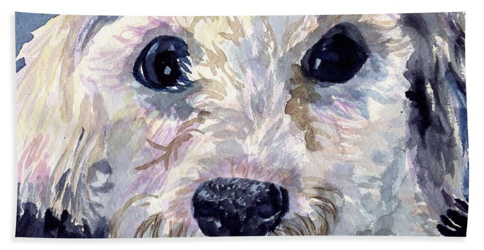 Bichon Frise Bath Towel featuring the painting Did You Say Lunch by Sharon E Allen