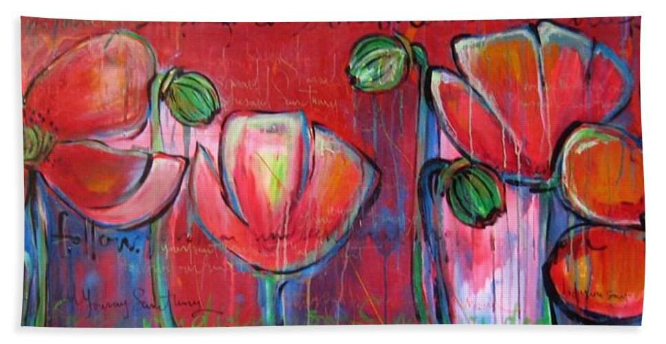 Red Bath Towel featuring the painting Did You Say Sanctuary by Laurie Maves ART