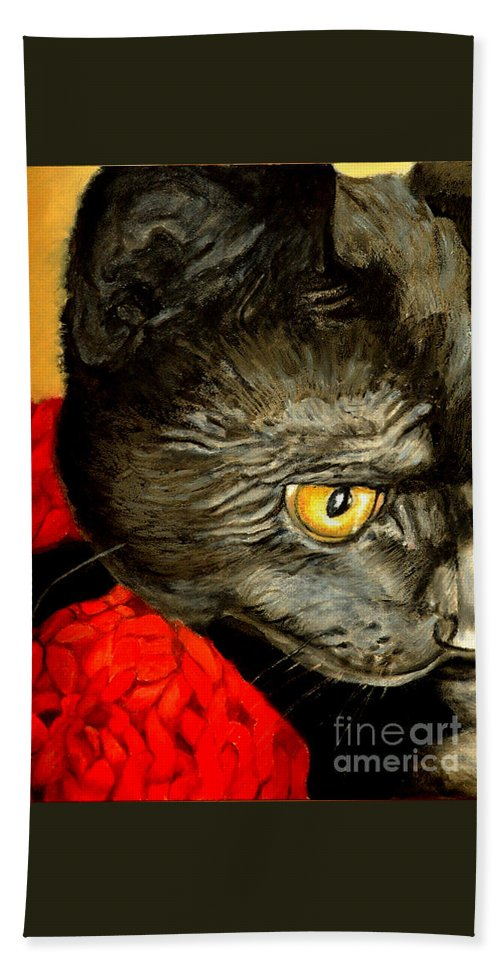 Animal Painting Hand Towel featuring the painting Diego The Cat by Portraits By NC