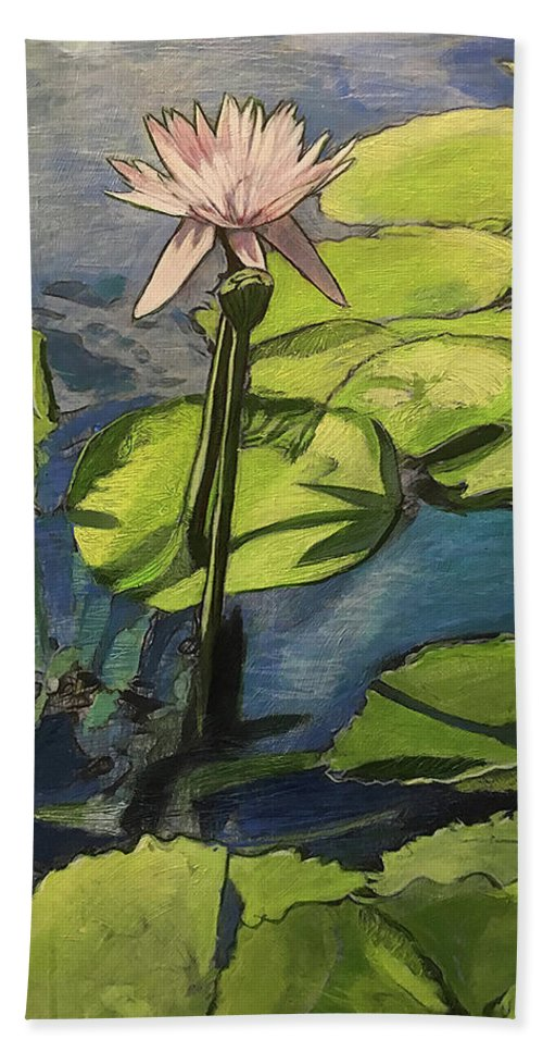 Water Lily Bath Sheet featuring the painting Pink by Ron Richard Baviello