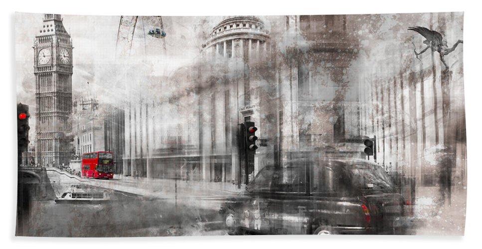 Abstract Bath Sheet featuring the photograph Digital-art London Composing by Melanie Viola