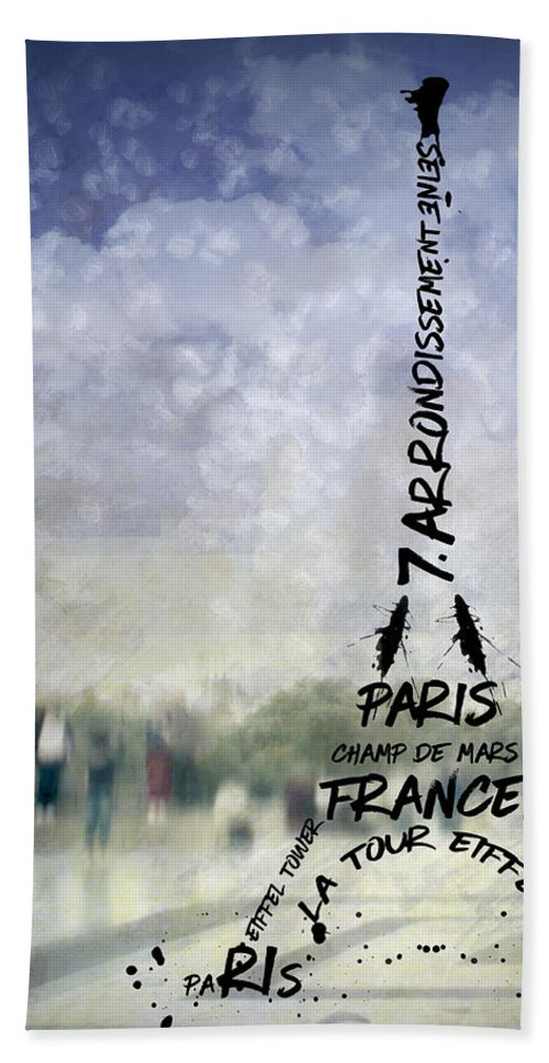 Abstract Hand Towel featuring the photograph Digital-art Paris Eiffel Tower No 1 by Melanie Viola