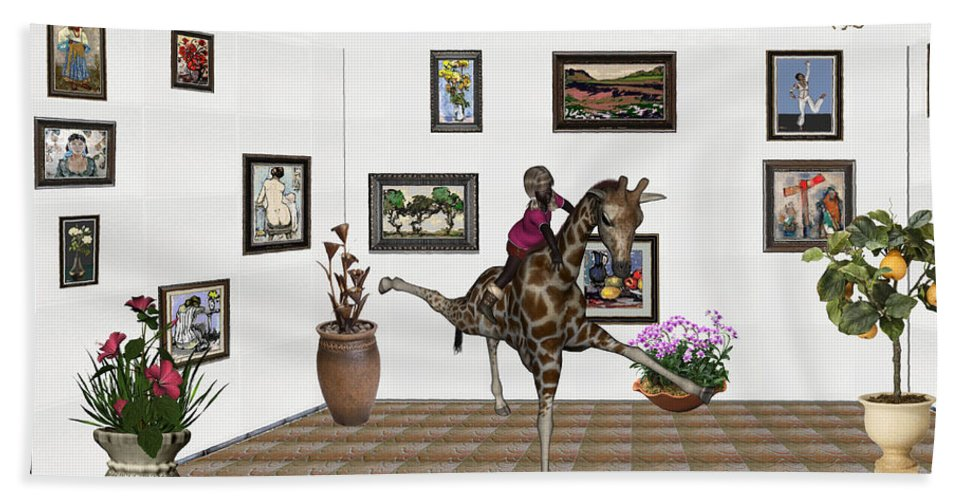 Modern Painting Hand Towel featuring the mixed media digital exhibition _ It climbed up giraffe by Pemaro