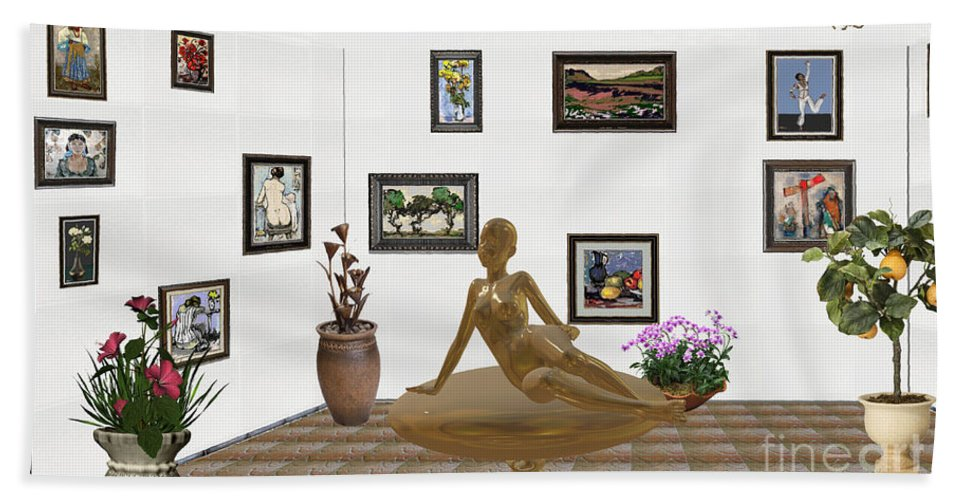 People Bath Sheet featuring the mixed media digital exhibition _ Statue of girl 49 by Pemaro