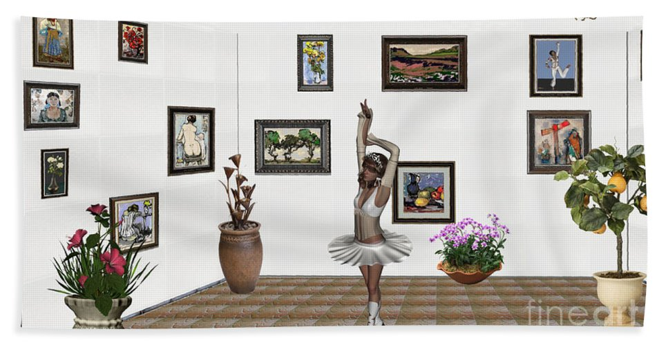 Modern Painting Bath Sheet featuring the mixed media Digital Exhibition_my Dancing Girl by Pemaro