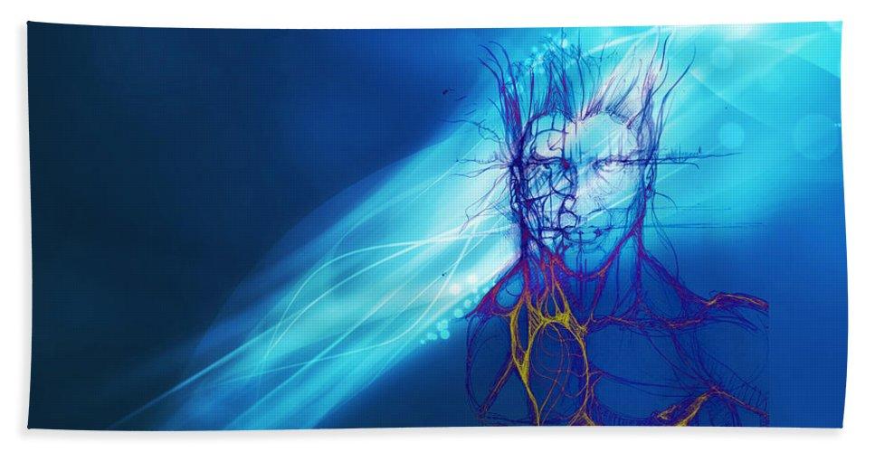 Digital Art Bath Sheet featuring the digital art Digital Liquid by Isaac Feliciano